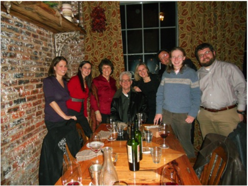 The Raben Lab at their 2011 Christmas Dinner.  Hana Goldschmidt (2nd from left), Dan Raben (center), Becky Tu-Sekine (next to Dan), and Elizabeth Petro (2nd from right).